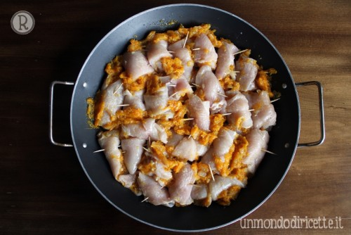 Bocconcini di pollo alla zucca light - Prima della cottura