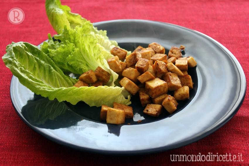 Tofu rosolato con salsa di soia
